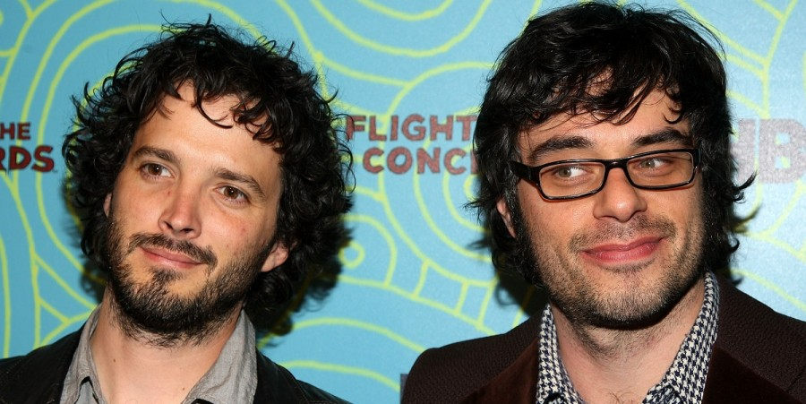 Brett McKenzie and Jemaine Clement attend the 'Flight of the Conchords' season 2 viewing party