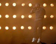 Rapper Kanye West performs at the 2015 iHeartRadio Music Festival at MGM Grand Garden Arena