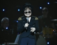 Yoko Ono speaks on stage during the Imagine: John Lennon 75th Birthday Concert