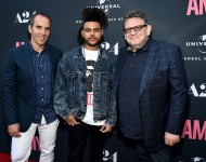 Monte Lipman, Chairman & CEO Republic Records, The Weeknd, and Lucian Grainge, Chairman & CEO of Universal Music Group, at the premiere of A24 Films 'Amy' on June 25, 2015 in Hollywood, California