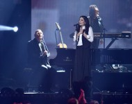 Lorde performs on stage during a tribute to David Bowie at the BRIT Awards 2016 at The O2 Arena on February 24, 2016 in London, England.