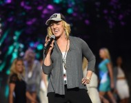 Adley Stump rehearses onstage during the 2015 Miss USA Pageant Rehearsals