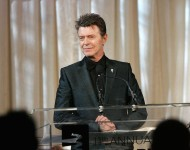 David Bowie speaks onstage while accepting the Webby Lifetime Achievement award at the 11th Annual Webby Awards at Chipriani Wall Street