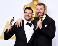 Jimmy Napes & Sam Smith pose in the press room during the 88th Annual Academy Awards