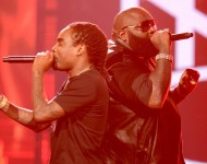 (L-R) Rappers Wale and Rick Ross perform onstage during the 2012 BET Awards at The Shrine Auditorium on July 1, 2012 in Los Angeles, California.