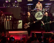 (L-R) Joe Trohman, Pete Wentz, Andy Hurley, and Patrick Stump of Fall Out Boy perform at The Regency Ballroom on February 5, 2016 in San Francisco, California.