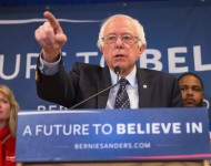 Senator Bernie Sanders (D-VT) holds a press conference on March 3, 2016 in East Lansing, Michigan.