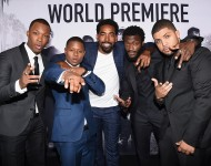 Corey Hawkins, Jason Mitchell, Marlon Yates, Jr., Aldis Hodge, and O'Shea Jackson, Jr. attend the Universal Pictures and Legendary Pictures' premiere of 'Straight Outta Compton'