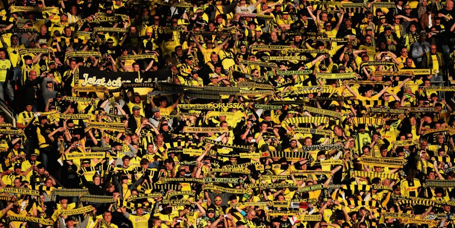 A general view of Borussia Dortmund fans during the UEFA Champions League final match between Borussia Dortmund and FC Bayern Muenchen at Wembley Stadium on May 25, 2013 in London, United Kingdom.