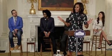 First Lady Michelle Obama, Lin-Manuel Miranda, Daveed Diggs and Phillipa Soo