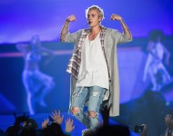 Justin Bieber performs on stage during opening night of the 'Purpose World Tour' at KeyArena on March 9, 2016 in Seattle, Washington.