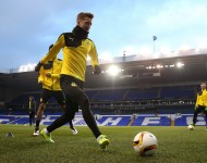 Marco Reus of Borussia Dortmund takes part in a drill during a training session ahead of the UEFA Europa League round of 16 second leg match between Tottenham Hotspur FC and Borussia Dortmund at White Hart Lane on March 16, 2016 in London, England.