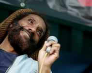 HR, front man of the band 'Bad Brains' performs on stage during the 'Save CBGB's' rally hosted by Steven Van Zandt in Washington Square Park August 31, 2005 in New York City.