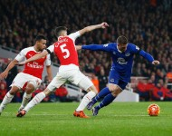 Ross Barkley of Everton and Gabriel of Arsenal compete for the ball during the Barclays Premier League match between Arsenal and Everton at Emirates Stadium on October 24, 2015 in London, England.