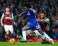 Willian of Chelsea and Andy Carroll of West Ham United compete for the ball during the Barclays Premier League match between West Ham United and Chelsea at Boleyn Ground on October 24, 2015 in London, England.