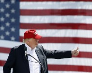 Republican presidential candidate Donald Trump speaks to guest gathered at Fountain Park during a campaign rally on March 19, 2016 in Fountain Hills, Arizona. Trumps visit to Arizona is the second time in three months as he looks to gain the GOP nominatio