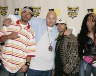 Fat Joe (2nd L) and Remy Ma (R) poses along with other Terror Squad members