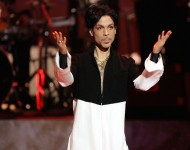 Musician Prince is seen on stage at the 36th NAACP Image Awards at the Dorothy Chandler Pavilion
