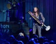 Steven Tyler performs on stage during 'Steven Tyler...Out on a Limb' Show to Benefit Janie's Fund in Collaboration with Youth Villages at David Geffen Hall on May 2, 2016 in New York City