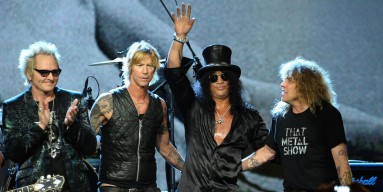 Inductees Matt Sorum, Duff McKagan, Slash and Steven Adler of Guns N' Roses, perform onstage during the 27th Annual Rock And Roll Hall of Fame Induction Ceremony at Public Hall