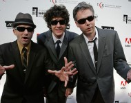 Musicians Adam Horovitz, Mike Diamond and Adam Yauch of the Beastie Boys arrive at the 11th Annual Webby Awards at Chipriani Wall Street