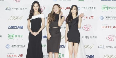 Seohyun, Tiffany and Taeyeon of Girls Generation arrive the 24th Seoul Music Awards on January 22, 2015 in Seoul, South Korea