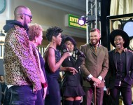 R. Kelly, Chairwoman and CEO of BET Networks Debra Lee, actress Tichina Arnold, recording artist Janelle Monae, recording artist Jidenna and recording artist Roman GianArthur speak during the 2015 Soul Train Music Awards preshow at the Orleans Arena on No