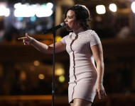 Demi Lovato performs on stage during the first day of the Democratic National Convention at the Wells Fargo Center, July 25, 2016 in Philadelphia, Pennsylvania