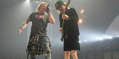 Axl Rose and Angus Young of AC/DC perform onstage at BB&T Center on August 30, 2016 in Sunrise, Florida