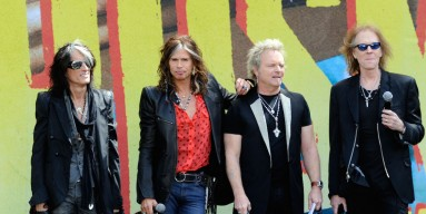 Aerosmith (L-R) Joe Perry, Steven Tyler, Joey Kramer and Tom Hamilton announce their 'The Global Warming' Tour at The Grove on March 28, 2012 in Los Angeles, California
