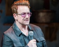 U2 Band member Bono attends 'Eclipsed' To Launch A Dedications Series In Honor Of Abducted Chibok Girls Of Northern Nigeria at Golden Theatre on April 30, 2016 in New York City