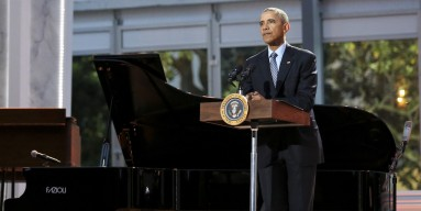 Barack Obama delivers remarks at the International Jazz Day Concert on the South Lawn of the White House on April 29, 2016 in Washington, DC