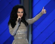 Katy Perry arrives on stage during the fourth day of the Democratic National Convention at the Wells Fargo Center, July 28, 2016 in Philadelphia, Pennsylvania