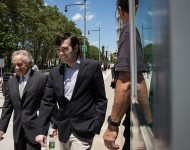 Attorney Benjamin Brafman and ex-pharmaceutical executive Martin Shkreli exit the U.S. District Court for the Eastern District of New York, June 6, 2016,