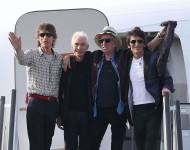Mick Jagger, Charlie Watts, Keith Richards and Ronnie Wood of the Rolling Stones at the Jose Marti International Airport on March 24, 2016 in Havana, Cuba