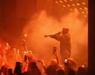 Kanye West performs during Harper's Bazaar's celebration of 'ICONS By Carine Roitfeld' at The Plaza Hotel on September 9, 2016 in New York City
