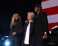 Jay Z is seen on a screen as he performs during a Get Out The Vote concert Democratic presidential nominee former Secretary of State Hillary Clinton at Wolstein Center on November 4, 2016 in Cleveland, Ohio.