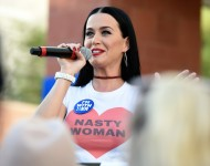Katy Perry speaks during a get out the early vote rally as she campaigns for Democratic presidential candidate Hillary Clinton at UNLV on October 22, 2016 in Las Vegas, Nevada