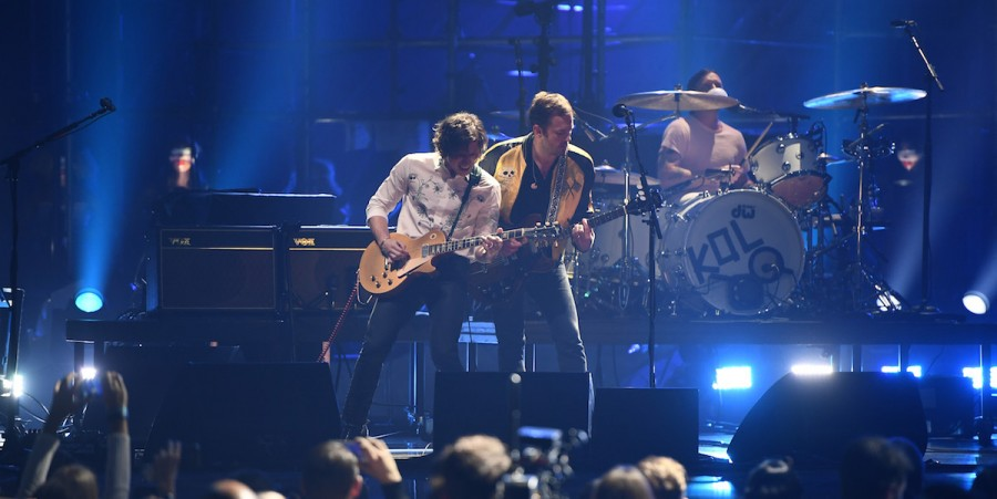 Matthew Followill and Caleb Followill of Kings of Leon perform on stage at the MTV Europe Music Awards 2016 on November 6, 2016 in Rotterdam, Netherlands