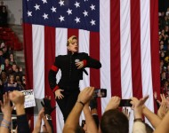 Lady Gaga performs during a campaign rally with Democratic presidential nominee former Secretary of State Hillary Clinton at North Carolina State University on November 8, 2016 in Raleigh, North Carolina