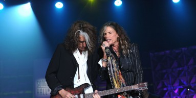 Joe Perry and Steven Tyler of Aerosmith perform at the Songwriters Hall of Fame 44th Annual Induction and Awards Dinner at the New York Marriott Marquis on June 13, 2013 in New York City