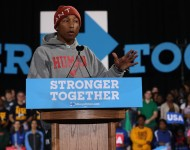 Pharrell Williams speaks during a campaign rally with Democratic presidential nominee Hillary Clinton at Coastal Credit Union Music Park at Walnut Creek on November 3, 2016 in Raleigh, North Carolina