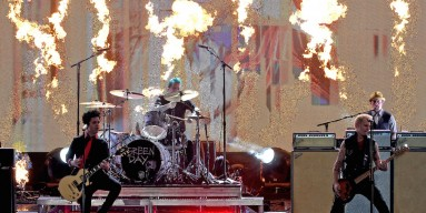 Billie Joe Armstrong, Tre Cool and Mike Dirnt of Green Day perform onstage during the 2016 American Music Awards at Microsoft Theater on November 20, 2016 in Los Angeles, California