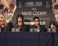 Vince Neil, Nikki Sixx, Tommy Lee and Mick Mars of Motley Crue attend the last ever European press conference on June 9, 2015 in London, England