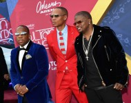 Michael Bivins, Ronnie DeVoe and Ricky Bell of Bell Biv DeVoe and New Edition attend the 2016 Soul Train Music Awards at the Orleans Arena on November 6, 2016 in Las Vegas, Nevada