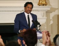 Q-Tip recites a poem during the President's Committee on the Arts and the Humanities poetry reading at the White House, September 8, 2016 in Washington, DC
