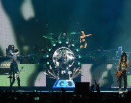 Duff McKagan, Axl Rose, Frank Ferrer, Slash and Melissa Reese of Guns N' Roses perform onstage during day 2 of the 2016 Coachella Valley Music & Arts Festival