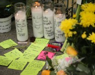 A memorial is seen near the site of a warehouse fire that has claimed the lives of at least thirty-three people on December 4, 2016 in Oakland, California.