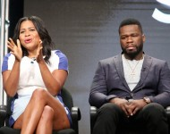 Courtney A. Kemp and executive producer/actor Kurtis '50 Cent' Jackson speak onstage during the 'Power' panel discussion at the Starz portion of the 2016 Television Critics Association Summer Tour at The Beverly Hilton Hotel on August 1, 2016