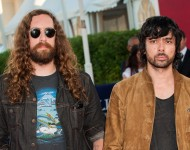 Gaspard Auge (L) and Xavier de Rosnay from the music group 'Justice' arrive at the premiere of the film 'Parkland' during the 39th Deauville American Film Festival on September 4, 2013 in Deauville, France